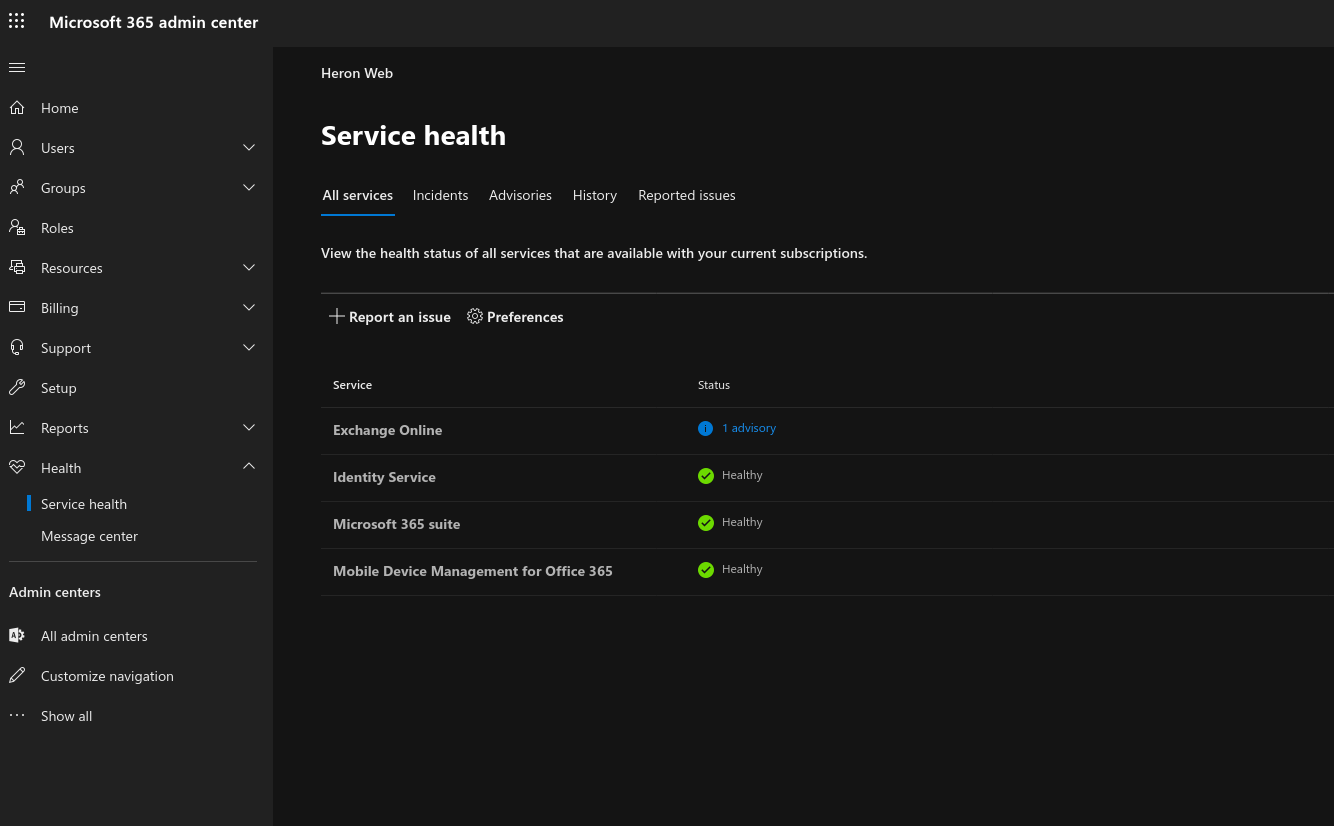 How to view and report Office 365 service advisories using the admin centre OnMSFT.com July 8, 2020