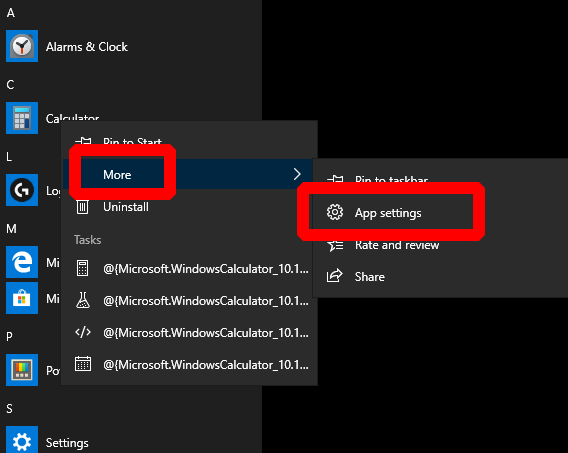 Screenshot of app's Start menu context menu in Windows 10 with More > App Settings highlighted