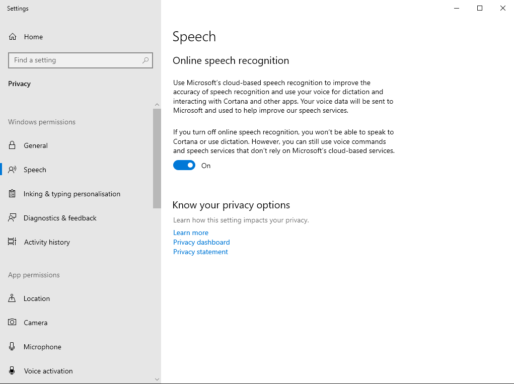 Screenshot of online speech settings page in Windows 10
