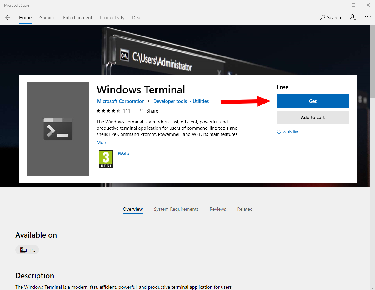 Screenshot of Windows Terminal store listing