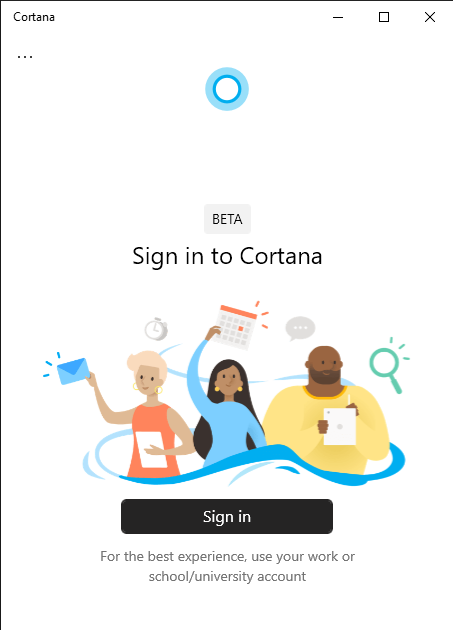Screenshot of Cortana app sign-in page in Windows 10