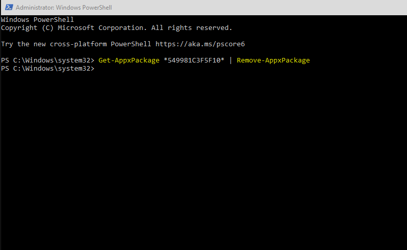 Screenshot of PowerShell command to remove Cortana app in Windows 10