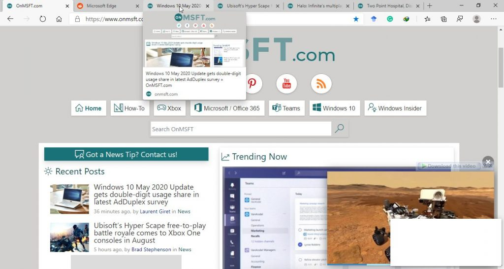 enable tab previews Microsoft Edge