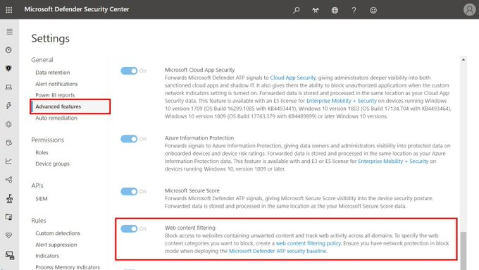Enable microsoft defender atp web content filtering tool
