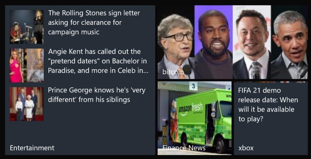 Microsoft news live tiles