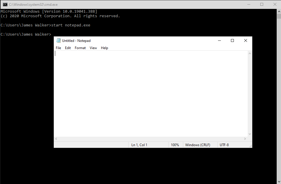 Starting a program in Command Prompt