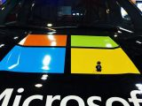 Microsoft logo on car hood