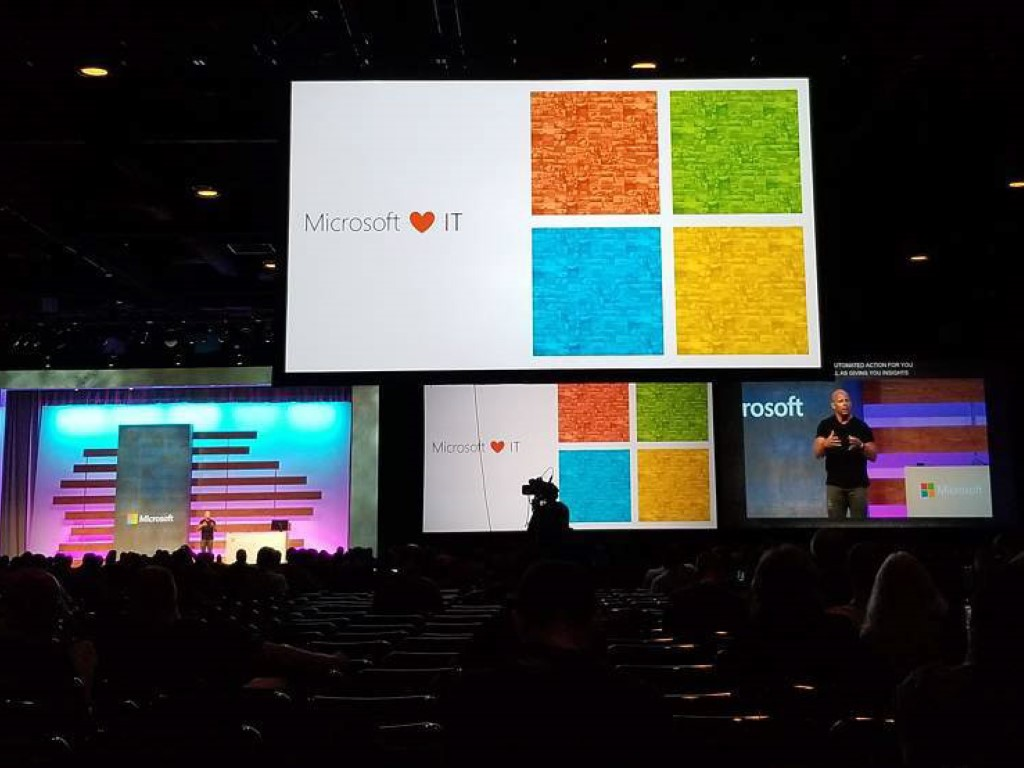 Microsoft loves IT sign onstage