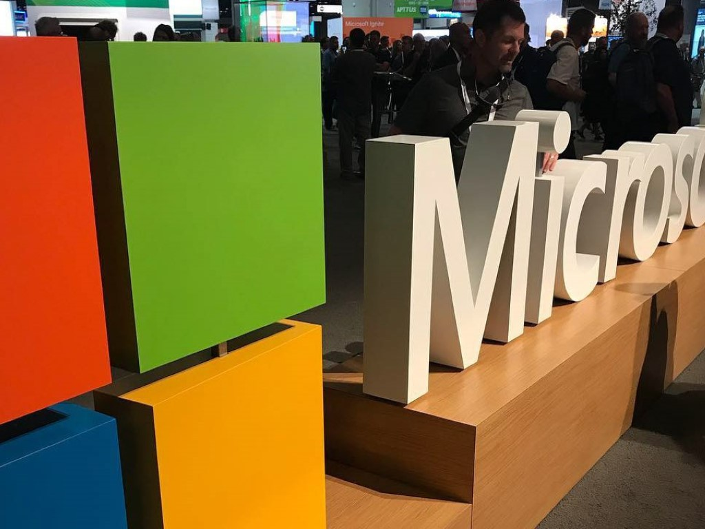 Microsoft logo and name at conference