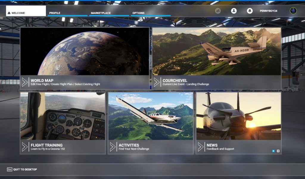 Microsoft Flight Simulator Menu
