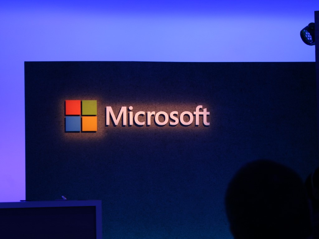 Microsoft name and logo onstage