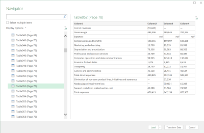 Screenshot of importing PDF table data into Excel