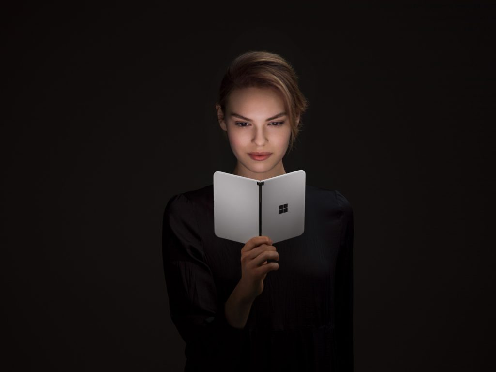 Surface Duo With Woman Dark