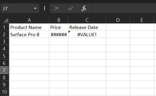 Value Error Excel