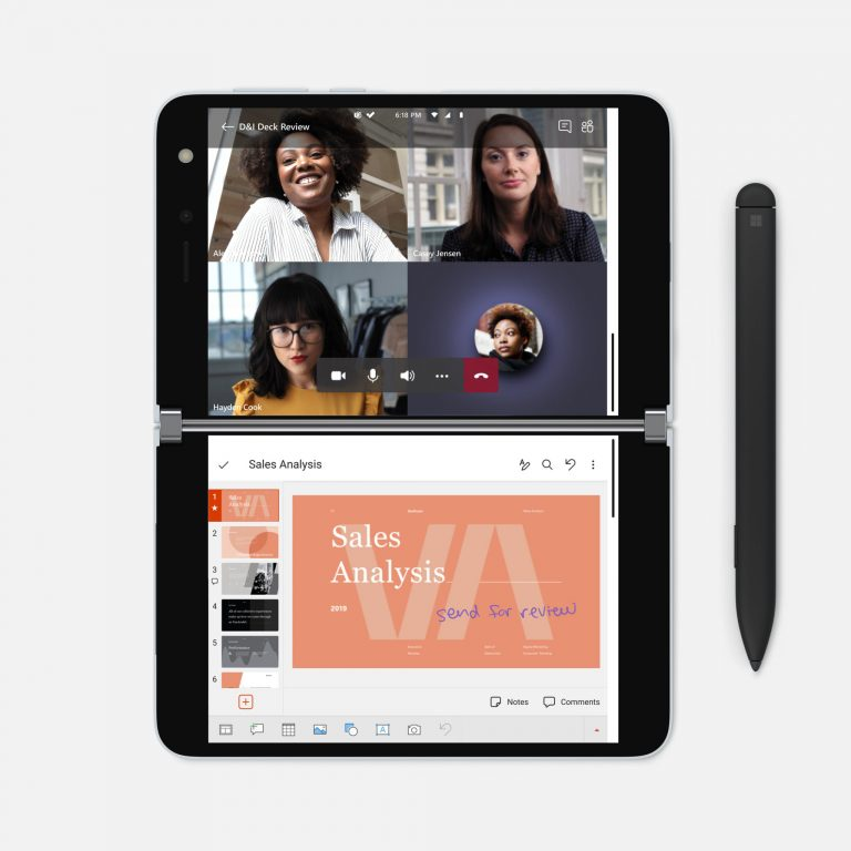 Surface Duo Microsoft TEams Powerpoint Surface Pen