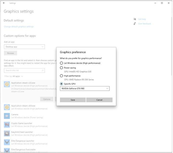 Windows 10 build 20190 new graphics settings