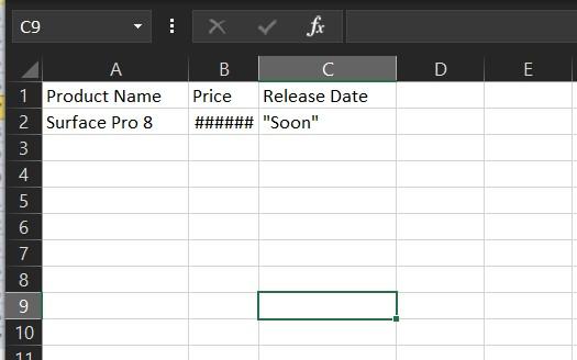##### Error Excel