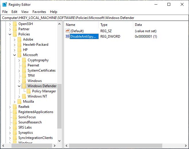 Microsoft defender registry key