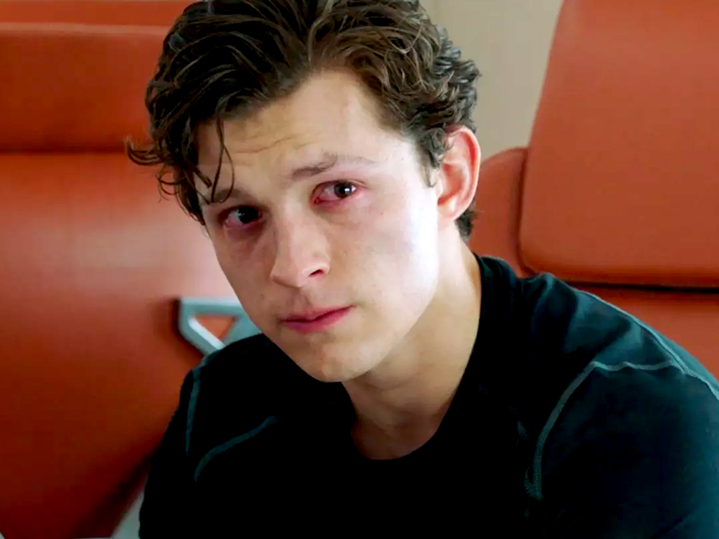 Tom Holland's Peter Parker crying in Spider-Man Homecoming.
