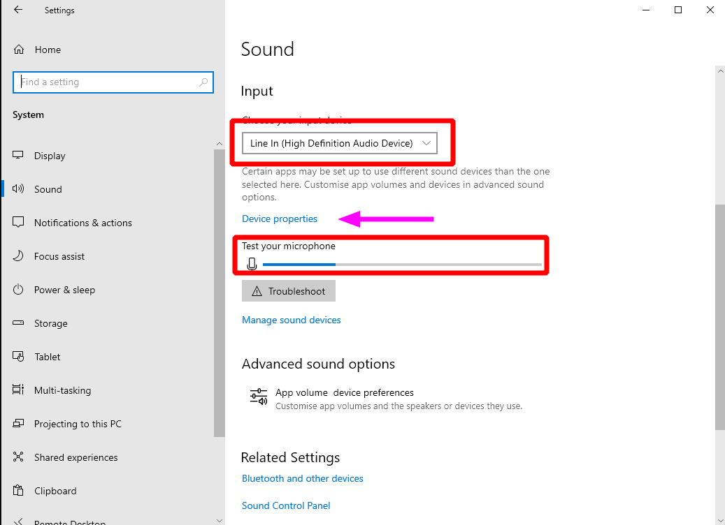 Screenshot of input sound settings in Windows 10