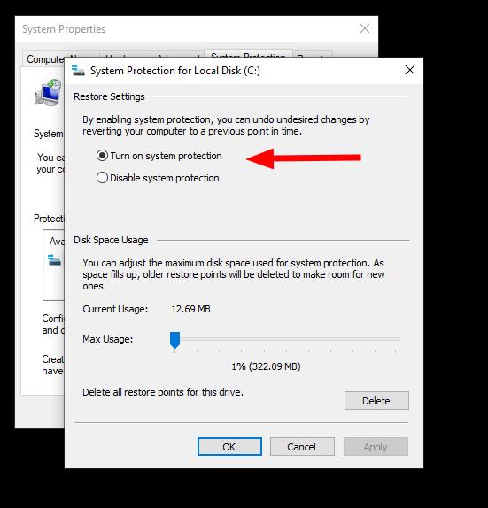 Screenshot of system restore in windows 10
