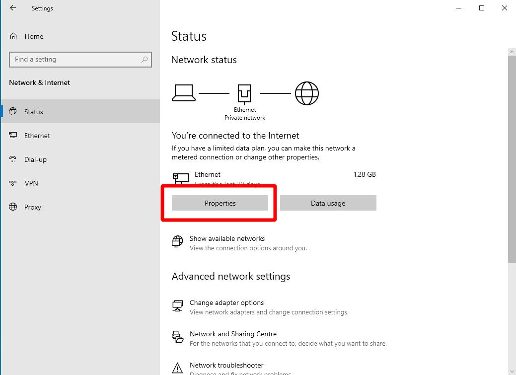 Screenshot of setting a static IP address in Windows 10