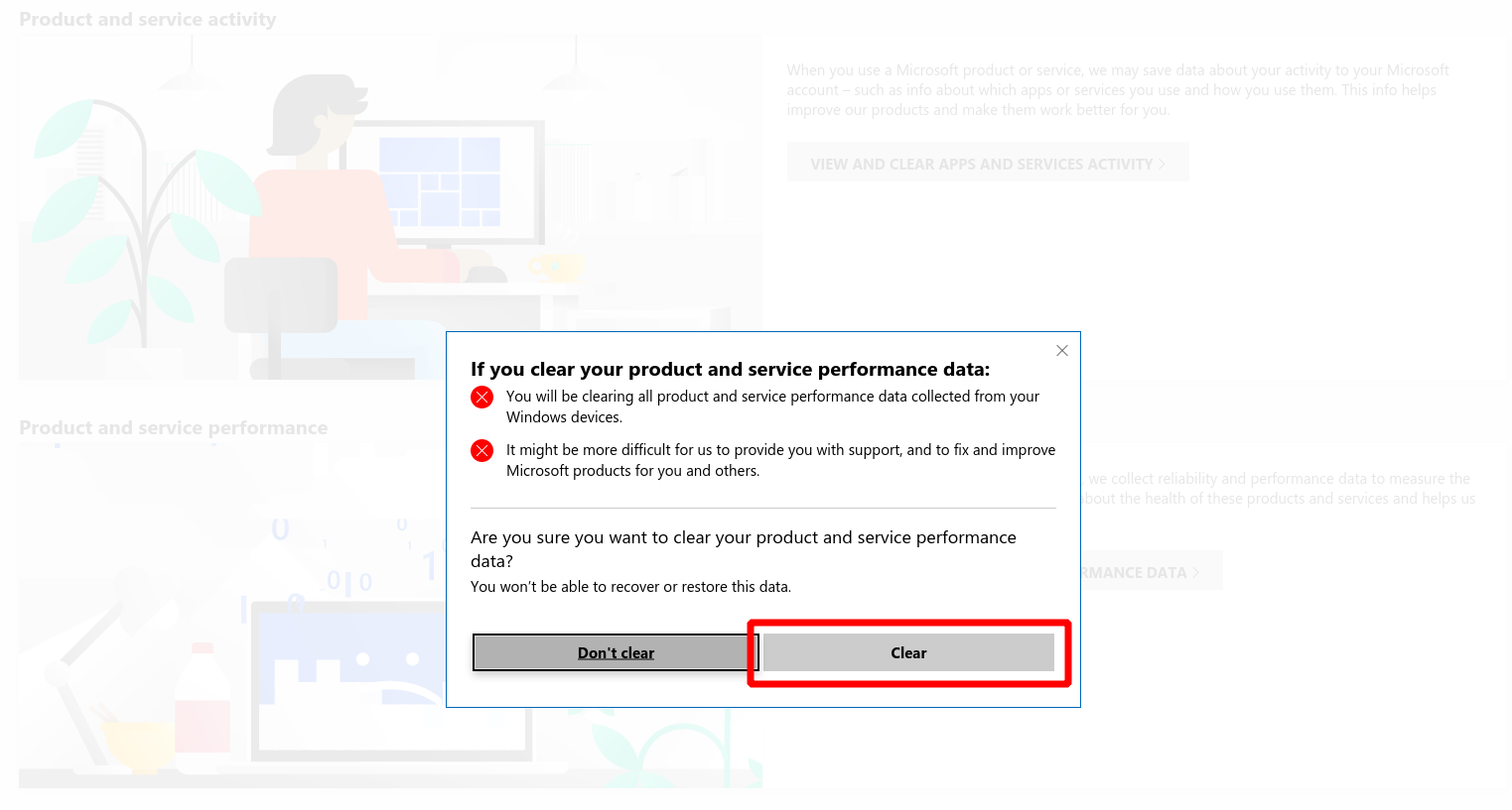 Screenshot of clearing performance data from Microsoft account