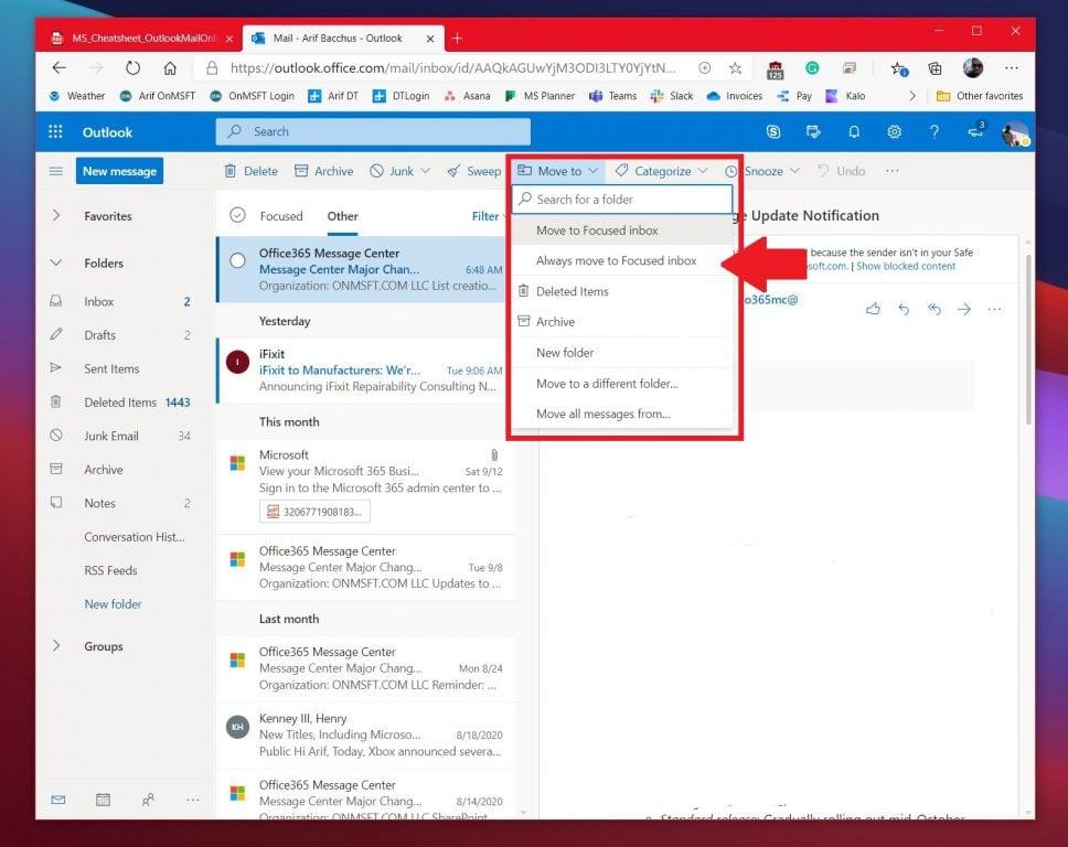 Focused Inbox Move Outlook