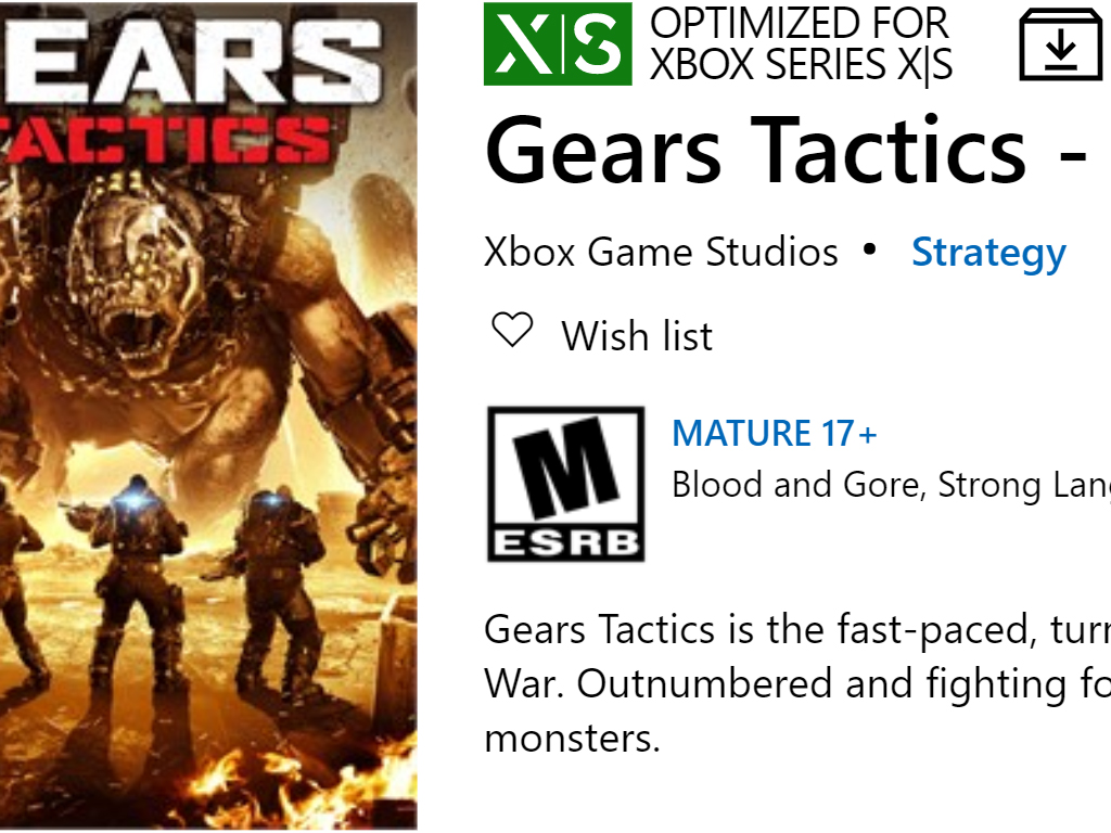 Gears Tactics video game for Xbox Series X.