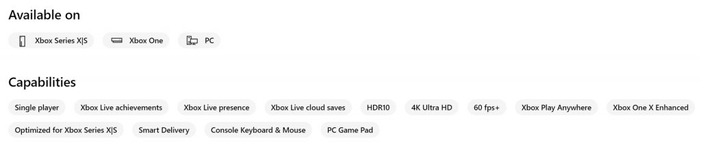 Xbox Series X Microsoft Store game details.