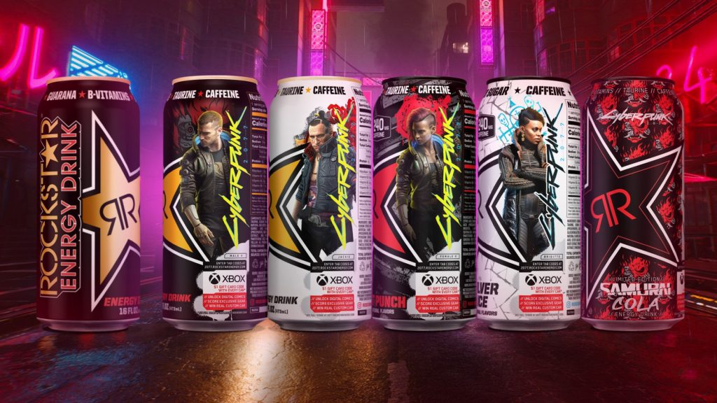 Rockstar Energy x Cyberpunk 2077 cans