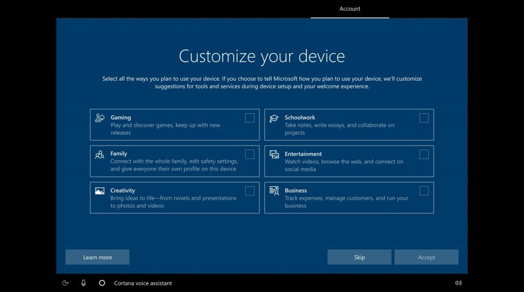 Windows 10 Build 20231 new customization options during OOBE experience
