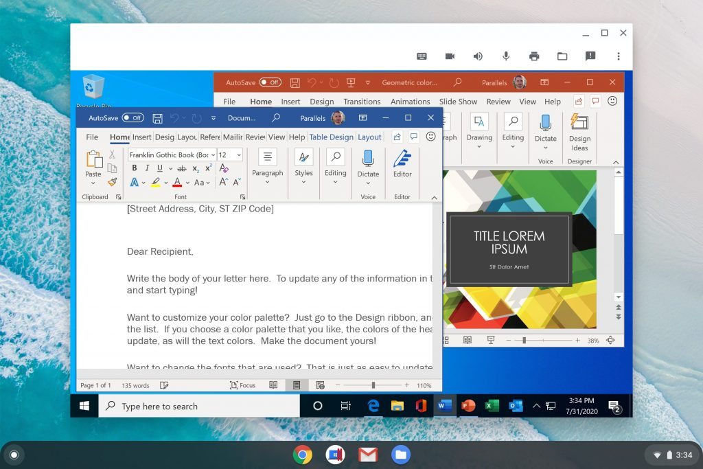 Microsoft Office For Windows With Word And Powerpoint Apps Running On Chrome Os In Parallels Desktop For Chromebook Enterprise