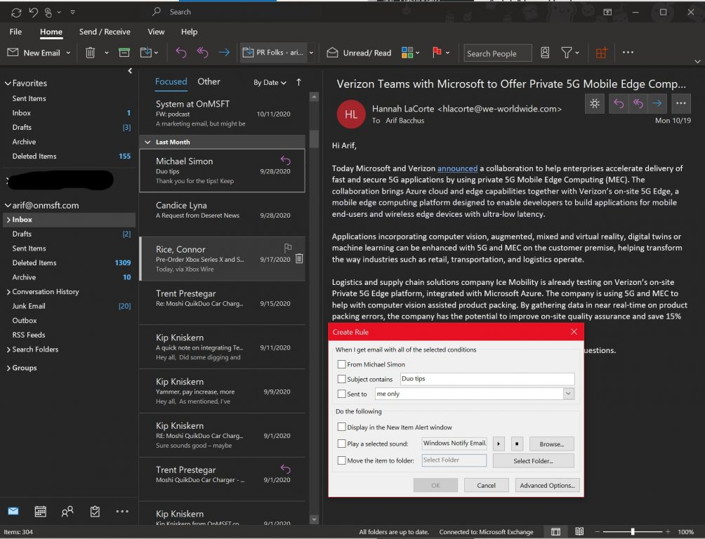 Outlook Creating New Rules