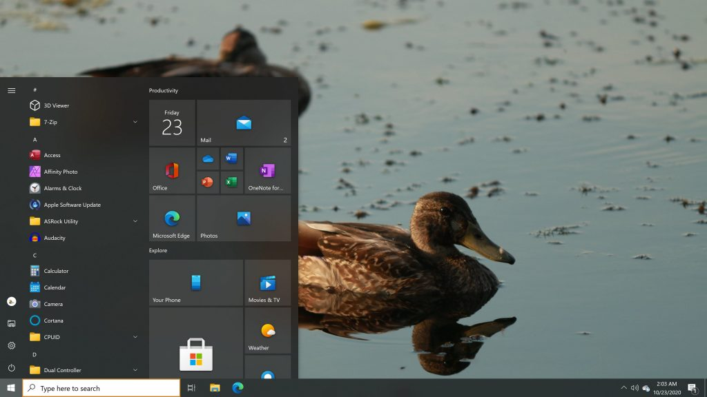 Windows 10 Start Menu as it appears in the Windows 10 October 2020 Update