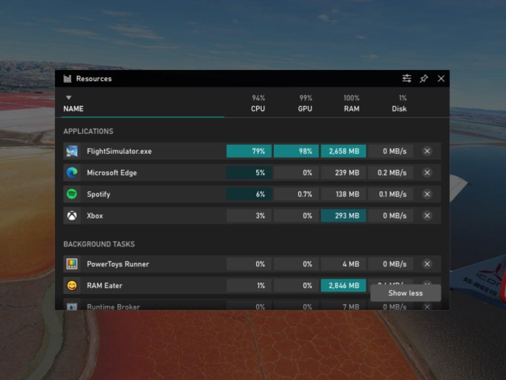 Xbox Game Bar Performance Widget