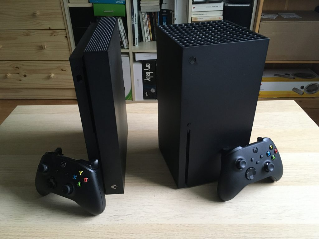 Xbox Series X And Xbox One X In Vertical Position