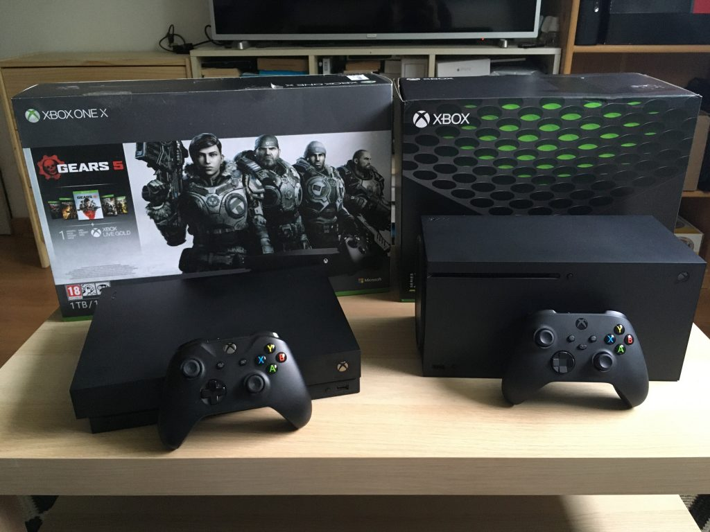 Xbox Series X And Xbox One X With Retail Boxes