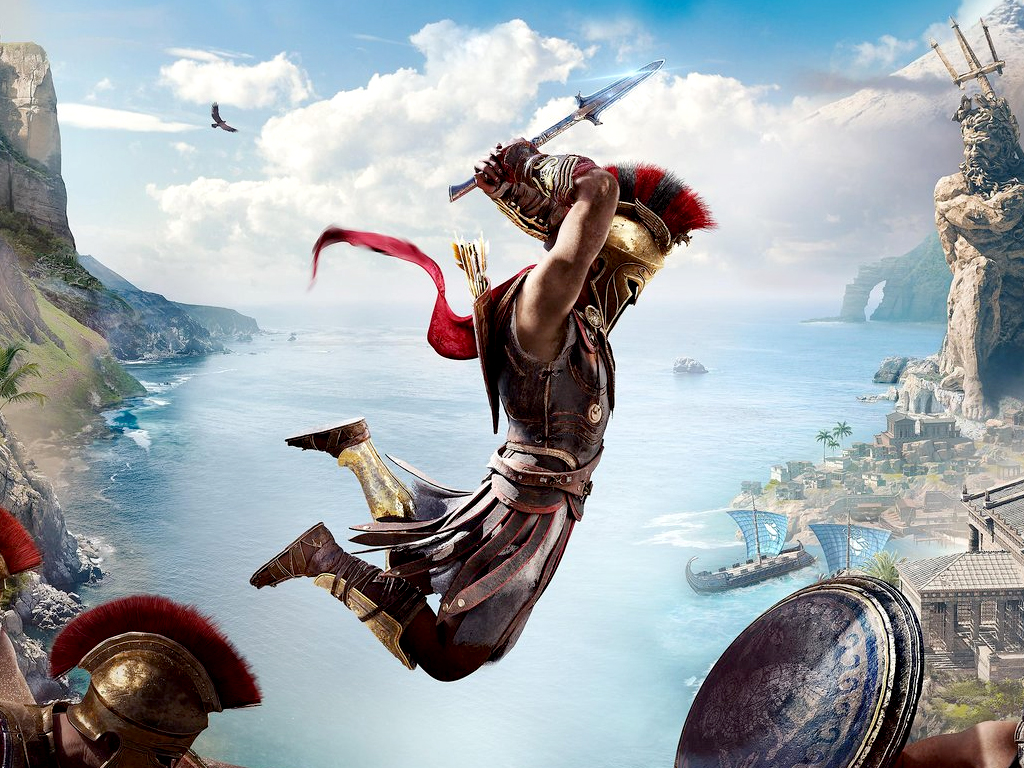 Assassin's Creed Odyssey male man character jumping on Xbox One and Xbox Series X