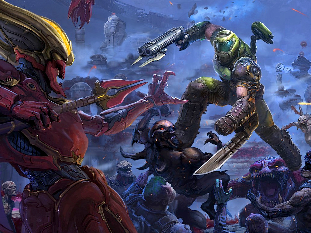 Doom Eternal video game on Xbox One and Xbox Series X