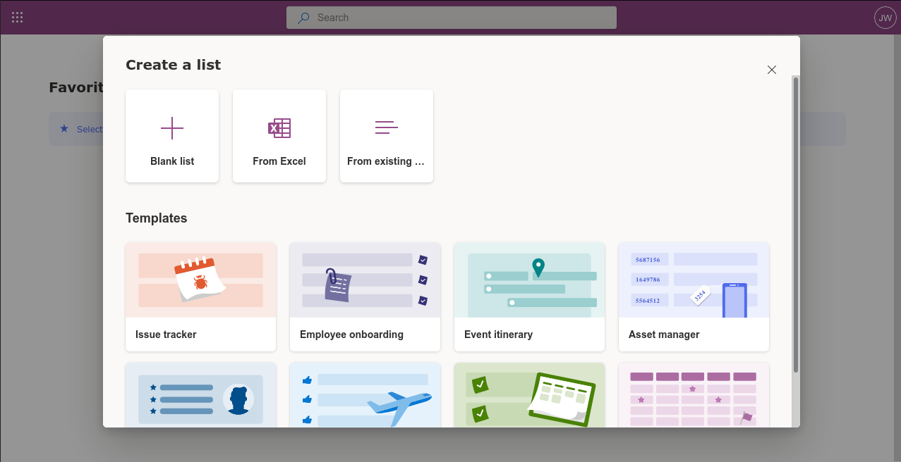 Screenshot of creating a list in Microsoft Lists