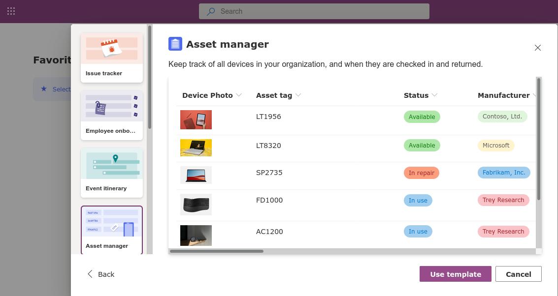 Screenshot of Microsoft Lists asset manager template
