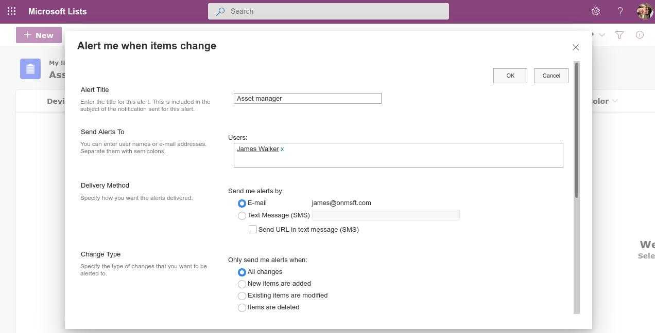Screenshot of Microsoft Lists alert settings