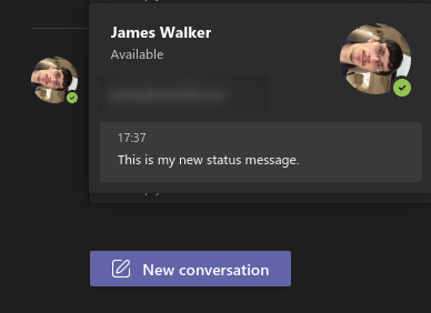 Screenshot of setting a status message in Microsoft Teams
