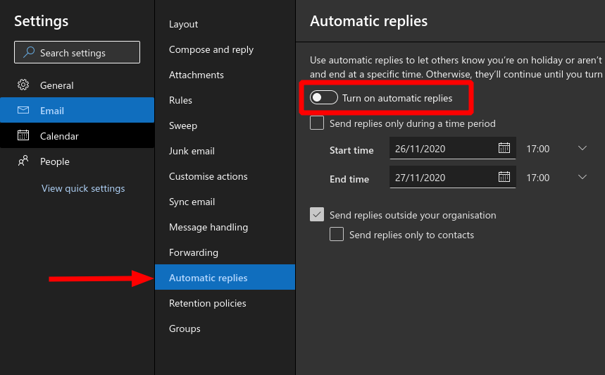 Screenshot showing Automatic Replies settings in Outlook Web App