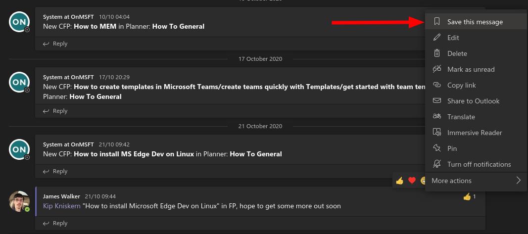 Screenshot of saving a message in microsoft teams
