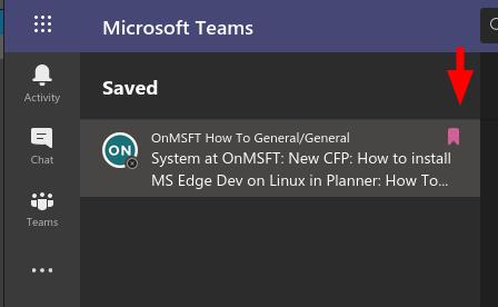 Screenshot of saved items list in microsoft teams