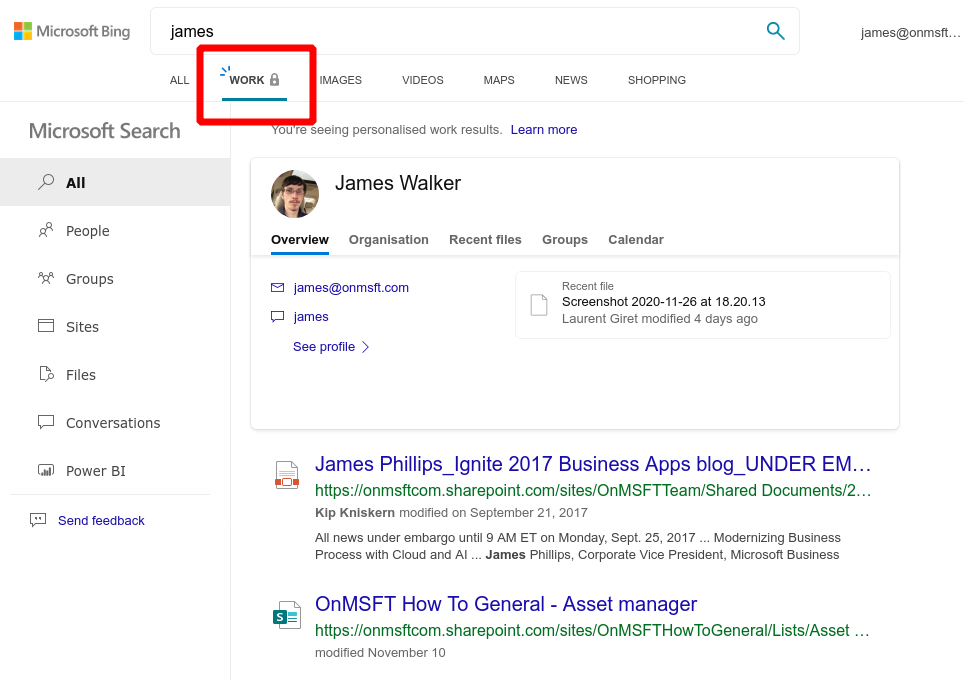 Screenshot of using Microsoft Search in Bing to find work data