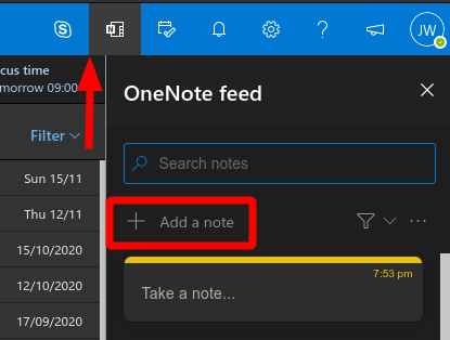 Screenshot of notes in Outlook web app
