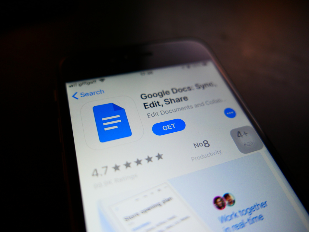 Photo of Google Docs' App Store page on iOS